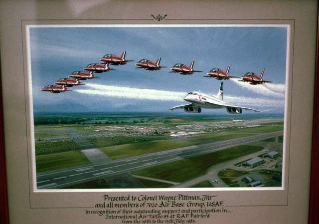 "Artwork: ""International Air Tattoo 85, RAF Fairford"". Artist: Wilf Hardy. US Air Force Art Collection"