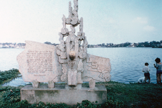 A monument at Bruc Bach Lake commemorates the capture of John S. McCain III, son of the US naval head of the Pacific Command.  McCain, a Navy pilot, was captured on October 26, 1967 and held until 1973