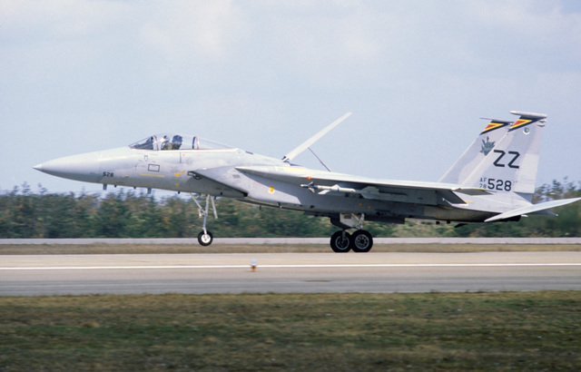 A US Air Force F-15 Eagle aircraft lands during the joint US Japanese Exercise COPE NORTH '86-3