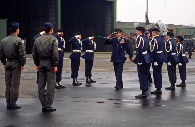 General (GEN) Charles A. Gabriel, chief of staff, US Air Force, salutes the Ramstein AB honor guard as he arrives for a change of command ceremony. The Air National Guard Air Defense Alert Detachment 11 will be assuming command of the Zula air defense alert mission from the 526th Tactical Fighter Squadron