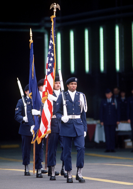 Members of the Ramstein AB honor guard present colors during a change of command ceremony. The Air National Guard Air Defense Alert Detachment 11 will be assuming command of the Zula air defense alert mission from the 526th Tactical Fighter Squadron