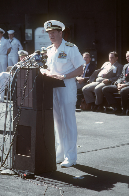 Vice Admiral (VADM) Robert F. Dunn, commander, Naval Air Force, US Atlantic Fleet, speaks during an arrival ceremony for the aircraft carrier USS SARATOGA (CV 60). The ship has just returned to port after a deployment to the Mediterranean Sea