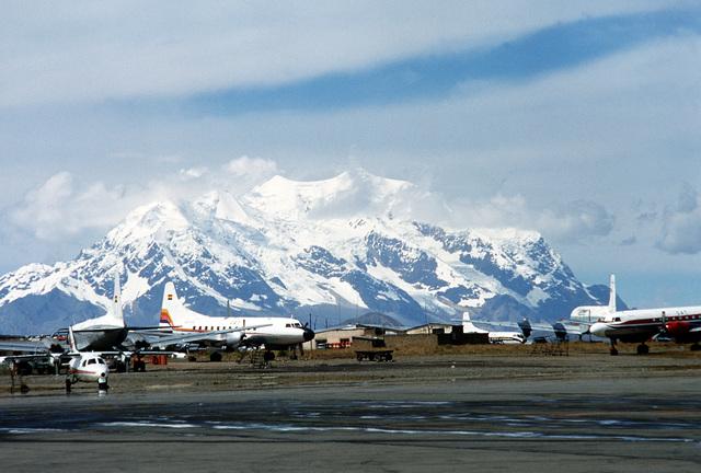 A view of an airfield during Fuerzas Unidas Bolivia, a joint U.S. and Bolivian training exercise. The Andes Mountains are in the background