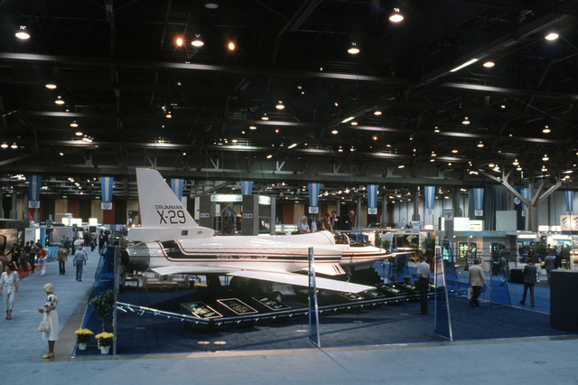 """The X-29 advanced technology demonstrator (ATD) forward swept wing aircraft on display at the Las Vegas Convention Center during the Air Force Association's Gathering of Eagles,""""a convention commemorating spectacular achievements in the free world's aerospace development"""
