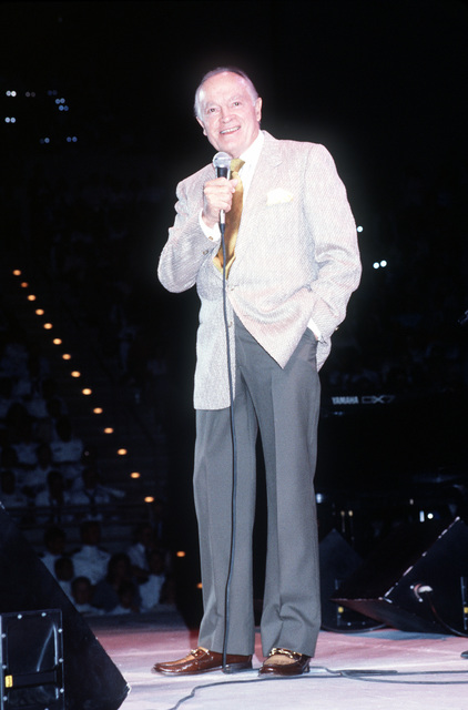 Entertainer Bob Hope performs in a United Service Organizations (USO) show in the Pensacola Civic Center during the celebration of the 75th anniversary of naval aviation. Exact Date Shot Unknown