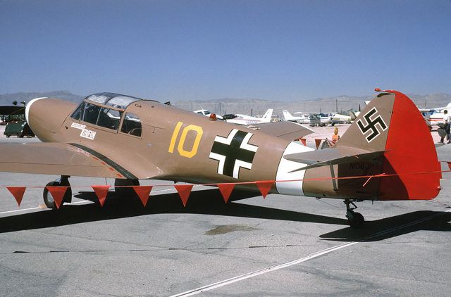 """Left side view of a German Messerschmidt built ME-108 """"Taifun"""" bomber aircraft on the flight line at McCarren Airport, Las Vegas, Nevada during the USAF Gathering of Eagles convention. Exact Date Shot Unknown"""