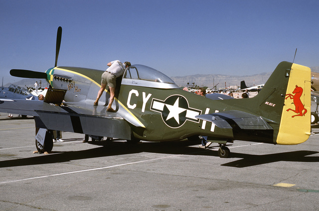 """Left side view of a North American built P-51 """"Mustang"""" pursuit aircraft on the flight line at McCarren Airport, Las Vegas, Nevada during the USAF Gathering of Eagles convention. Exact Date Shot Unknown"""