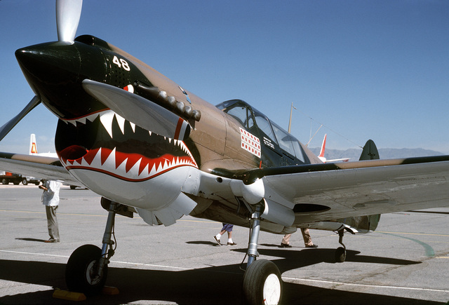 """Three quarter front view of a Curtiss built P-40 """"Warhawk"""" aircraft on the flight line at McCarren Airport, Las Vegas, Nevada during the USAF Gathering of Eagles convention. Exact Date Shot Unknown"""