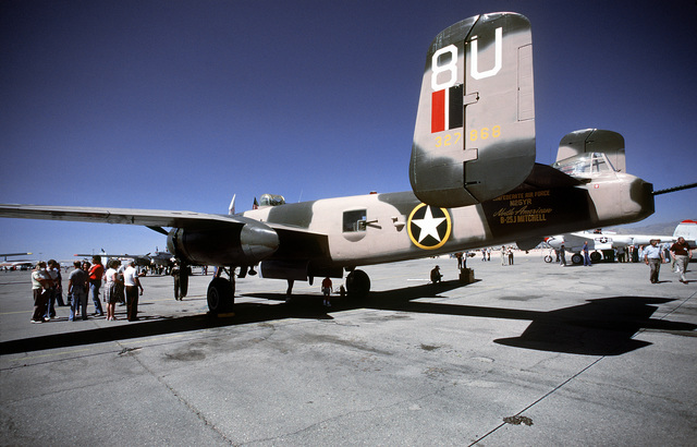 """Three quarter rear view of a North American built B-25 """"Mitchell"""" bomber aircraft on the flight line at McCarren Airport, Las Vegas, Nevada during the USAF Gathering of Eagles convention. Exact Date Shot Unknown"""