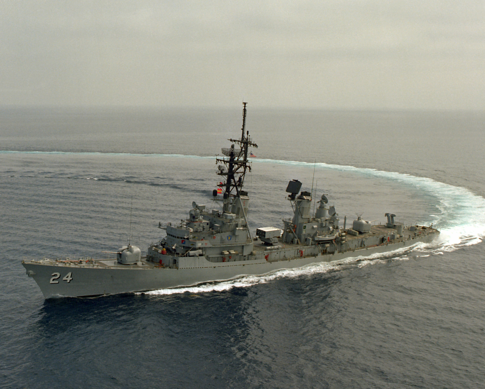 A port bow view of the guided missile destroyer USS WADDELL