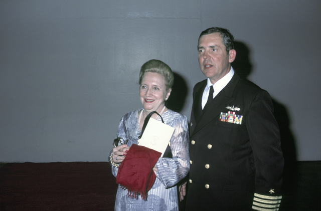 Captain (CAPT) Albert L. Kaiss, commanding officer of the battleship USS MISSOURI (BB 63), and Sponsor Margaret Truman Daniels attend a post-recommissioning ceremony at City Hall