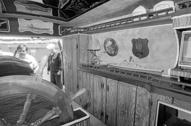 The interior of the van owned by Stuart L. Chalkey which is decorated with battleship memorabilia and painted with a mural of the battleship USS MISSOURI (BB 63)