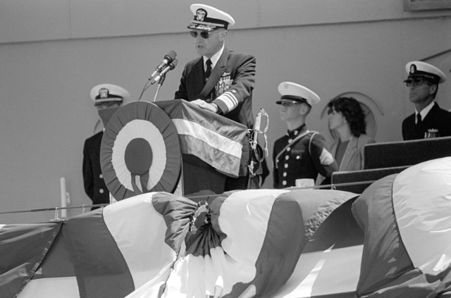 Vice Admiral (VADM) William H. Rowden, commander, Naval Sea Systems Command, speaks during the commissioning of the battleship USS MISSOURI (BB 63)