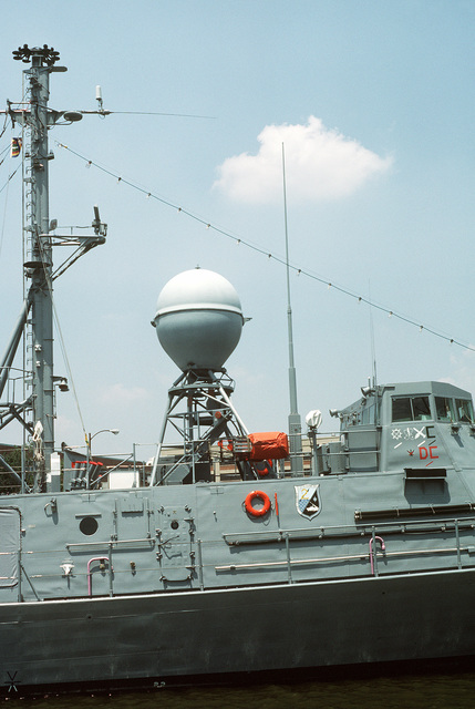 A view of the Mark 92 fire control radar antenna aboard the patrol missile hydrofoil USS TAURUS (PHM-3). The vessel is moored at Pier No. 2 at the Washington Navy Yard