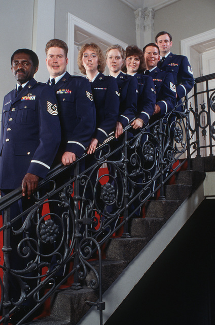 Vocalists from the 686th Air Force Band pose for a photograph