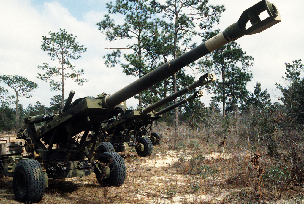 155mm howitzers are ready for use during rapid response loading Exercise Agile Sword '86