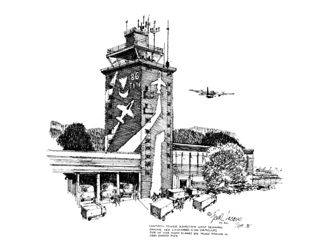 "Artwork: ""Control Tower Ramstein, West Germany"". Artist: Frank Lacano. US Air Force Art Collection. NOTE: COPYRIGHTED"
