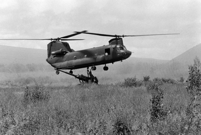Members of Battery C, 1ST Battalion, 8th Field Artillery Regiment, hook an M198 155 mm Howitzer to the sling of a CH-47 Chinook helicopter during Exercise OPPORTUNE JOURNEY 2-86 in the Pohakuloa Training Area