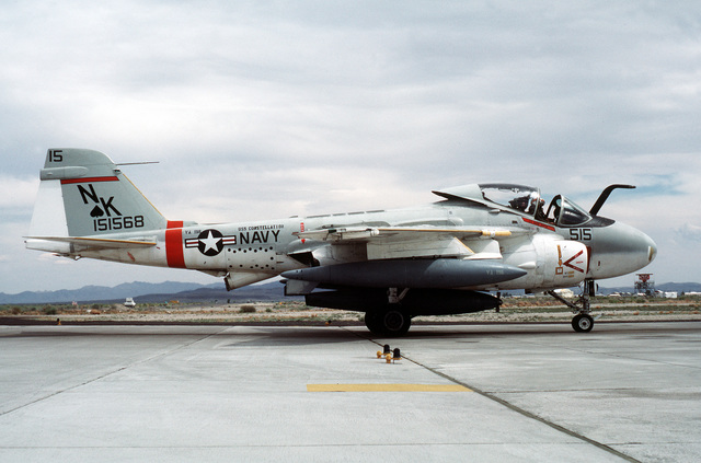 A right side view of an Attack Squadron 196 (VA-196) KA-6D Intruder aircraft preparing for takeoff