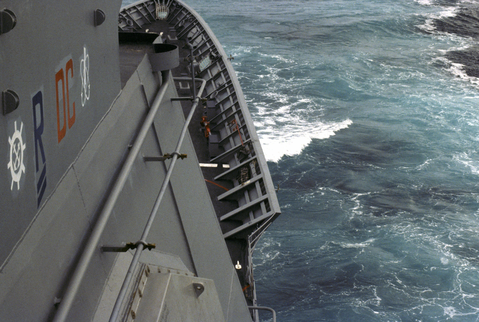 A view of the bow from the starboard side of the bridge of the guided missile cruiser USS YORKTOWN (CG 48)