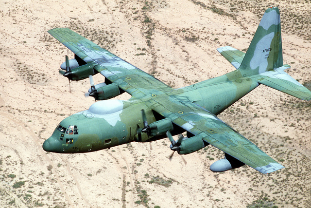 An air-to-air view of an HC-130 Hercules aircraft in flight during exercise Patriot Coyote