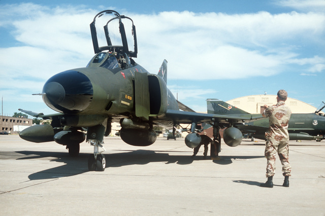 F-4E Phantom II aircraft from the 347th Tactical Fighter Wing arrive from Moody Air Force Base, Georgia, for Exercise GALLANT EAGLE '86