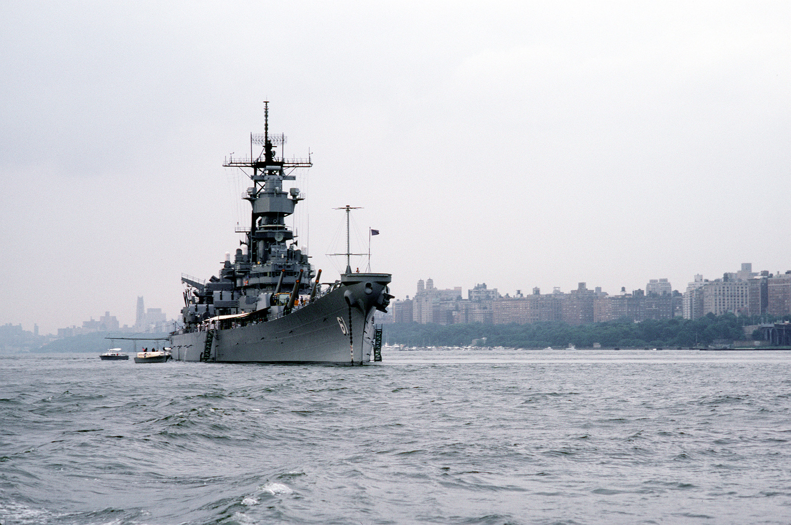 A starboard bow view of the battleship USS IOWA (BB-61