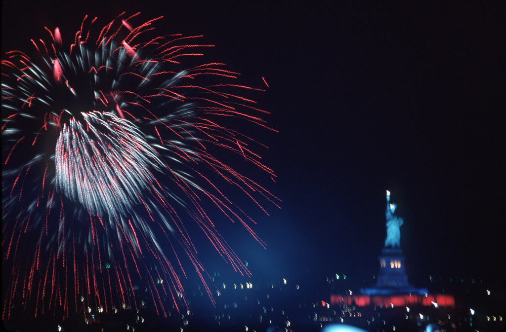 A fireworks display is given as part of the 100th anniversary celebration of the Statue of Liberty