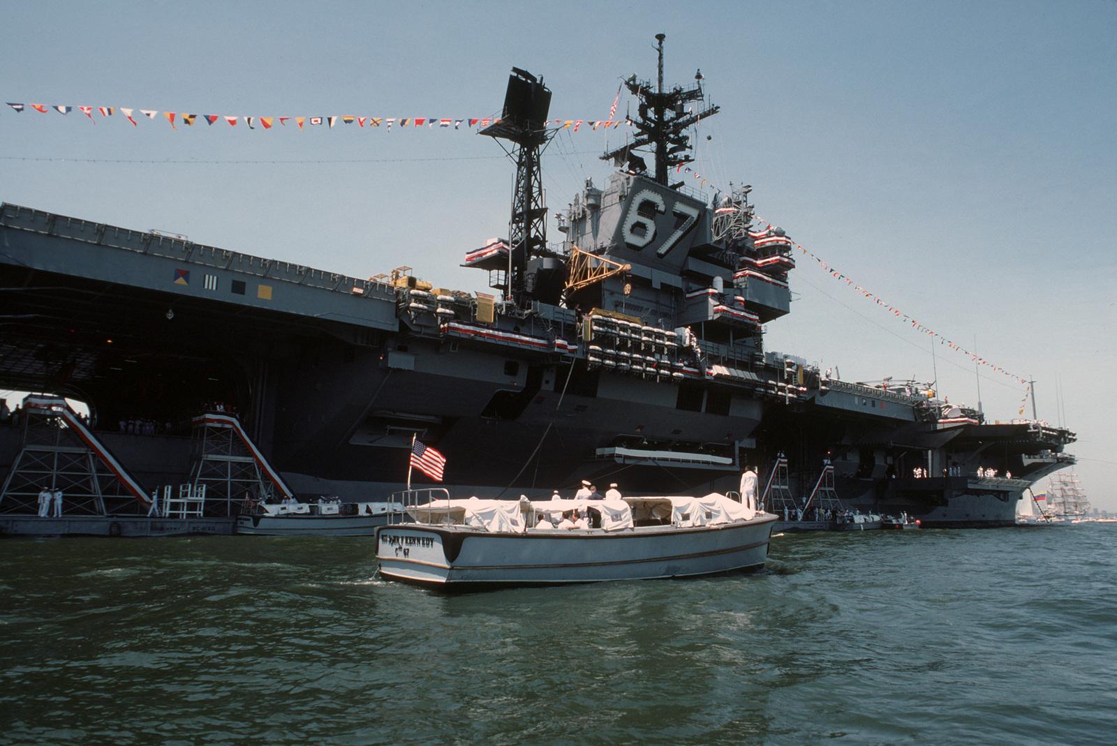a motorized whaler from the aircraft carrier uss john f kennedy cv