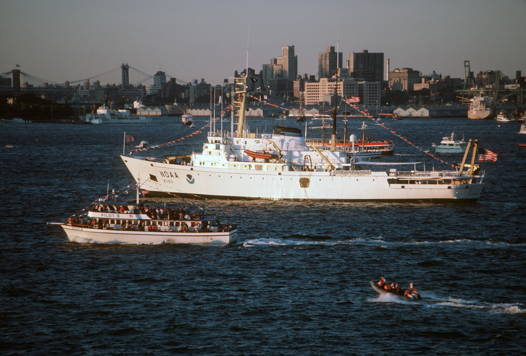 A port view of the National Oceanic and Atmospheric Administration research ship Researcher (R 103) during the International Naval Review