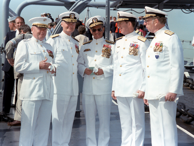 Officers aboard the battleship USS IOWA (BB 61) for the International Naval Review include, from left to right: Lieutenant General (LGEN) Alfred M. Gray, commanding officer, Fleet Marine Force Atlantic; Vice Admiral William F. McCauley, commander, Naval Surface Force, Atlantic Fleet; VADM Henry C. Musting, commander, 2nd Fleet; VADM Robert L. Dunn, commander, Naval Air Force, Atlantic Fleet; and VADM Bernard M. Kauderer, commander, Submarine Forces, Atlatic Fleet