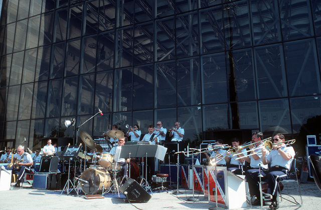 The Airmen of Note, a U.S. Air Force band, perform outside the National Air and Space Museum during a Fourth of July show