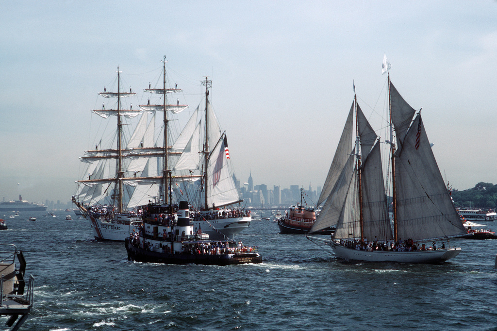 Training ships and other civilian ships underway in the harbor during the International Naval Review