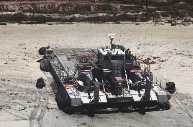 A US Army LACV-30 (Lighter Air Cushion Vehicle - 30 Ton) hovercraft beached during Exercise GALLANT EAGLE '86