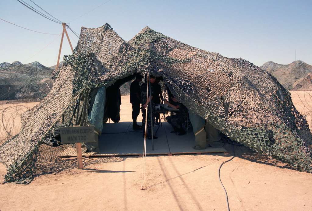 A view of the XVIII Airborne Corps tactical operations center during Exercise GALLANT EAGLE '86