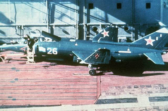 A Yak-36 Forger aircraft parked aboard the flight deck of the Soviet aircraft carrier KIEV (CVHG)