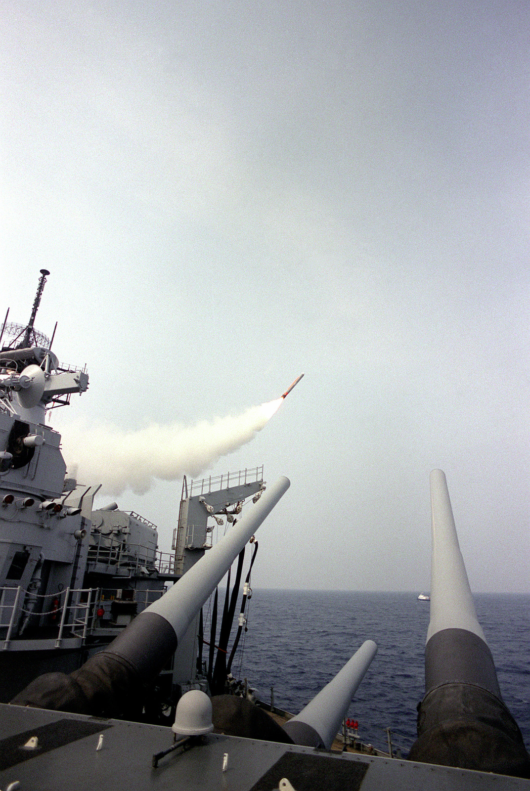 A BGM-109 Tomahawk cruise missile is launched from the