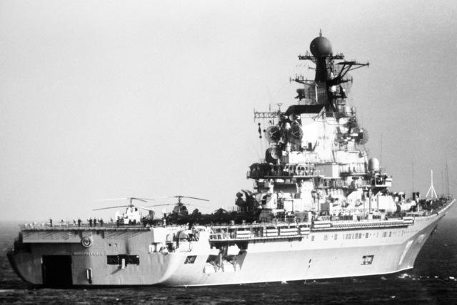 A starboard quarter view of the Soviet Kiev class aircraft carrier NOVOROSSIYSK (CVHG) underway