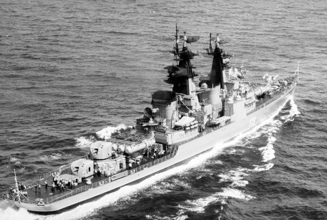 A starboard quarter view of the Soviet Kynda class cruiser Groznyy underway