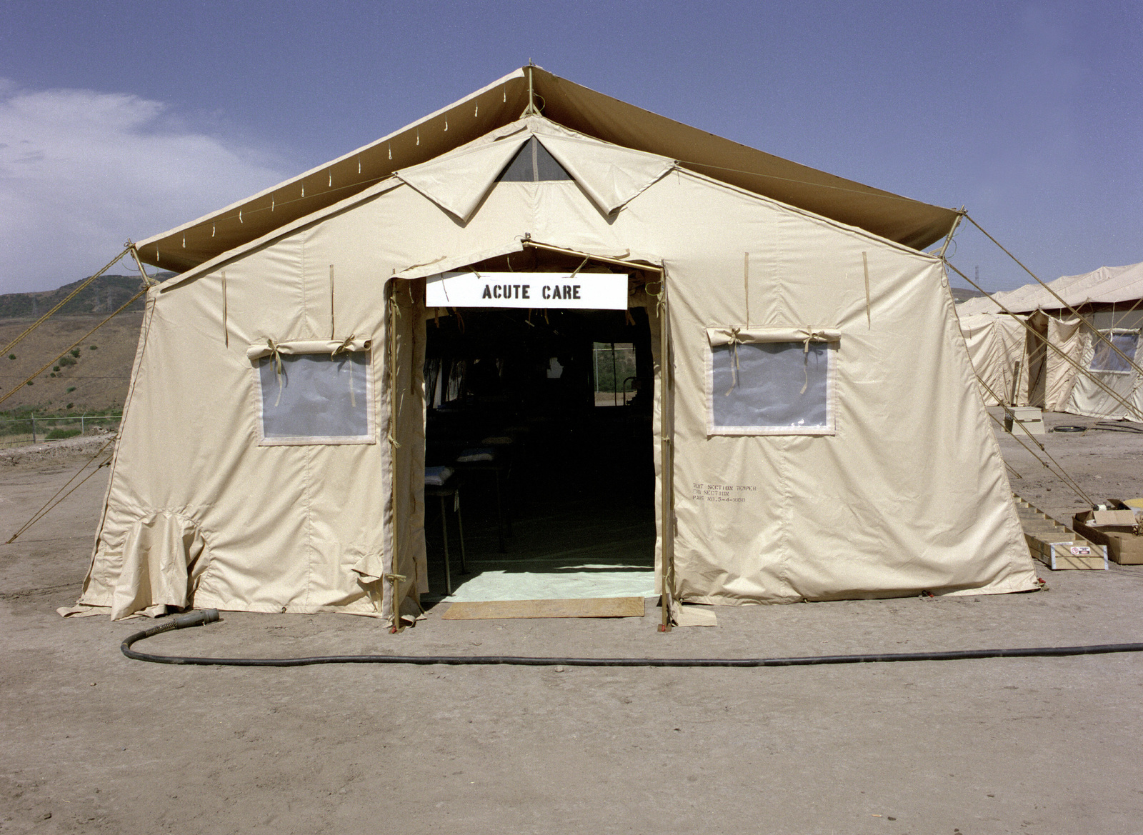 A temper tent erected to be used as an acute care ward at
