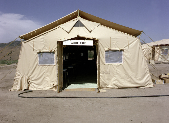 A temper tent erected to be used as an acute care ward at the field medical school
