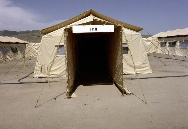 A temper tent erected to be used as an intensive care ward at the field medical school