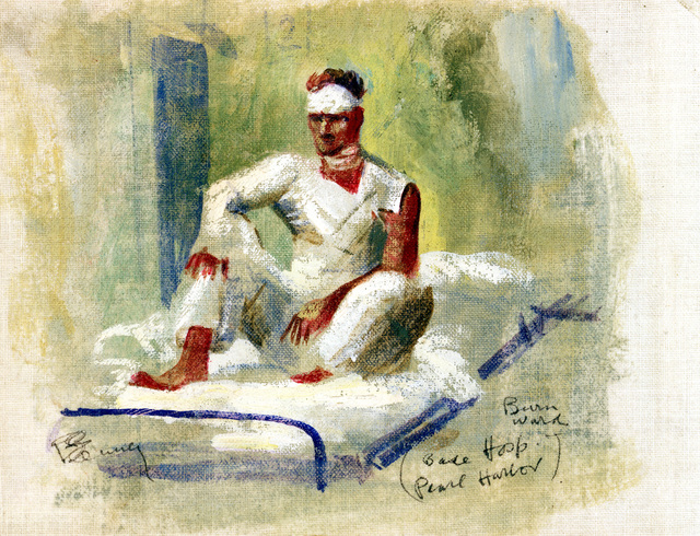 "Artwork: ""Burn Ward,"" Pearl Harbor, World War II- Artist: Robert Benney"