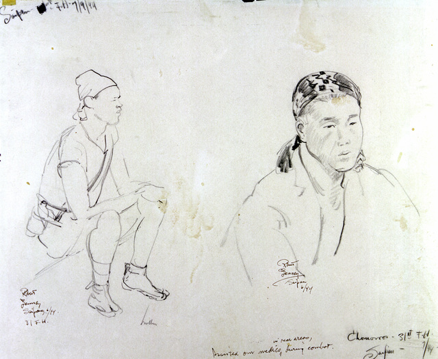 "Artwork: ""Chamorros,"" Saipan, July 1944- Artist: Robert Benney"