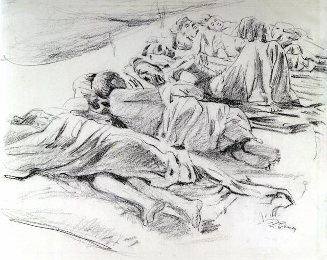 """Artwork: """"Civilian Hospital Tent,"""" World War II- Artist: Robert Benney"""