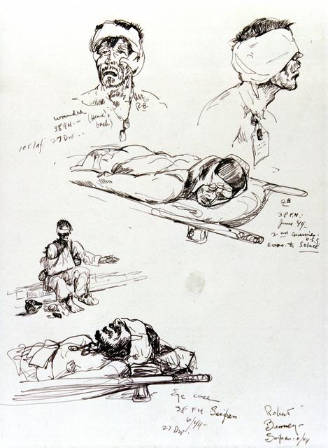 "Artwork: ""Head and Eye Casualties,"" Saipan, June 1944- Artist: Robert Benney"