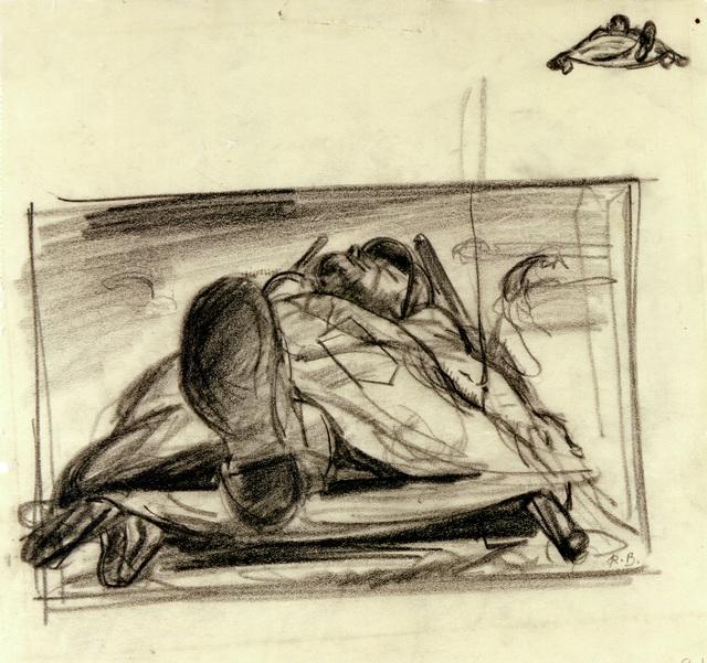 """Artwork: """"Just Off the Line,"""" World War II- Artist: Robert Benney"""