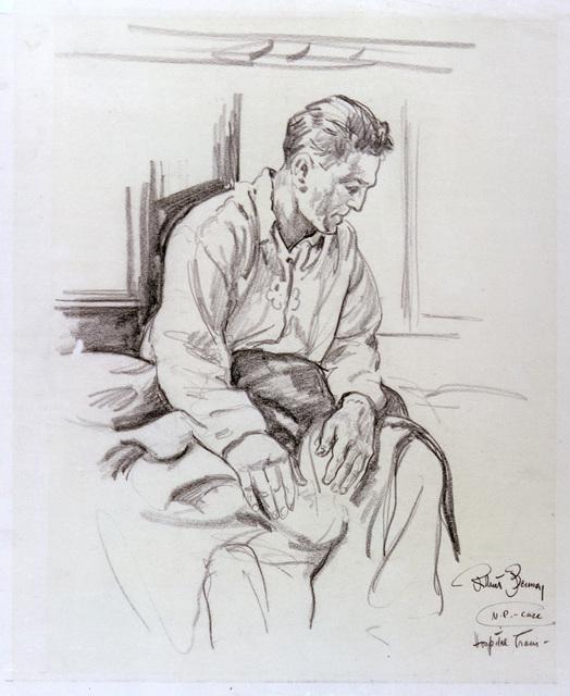 """Artwork: """"N.P. Case,"""" Pacific, World War II- Artist: Robert Benney"""