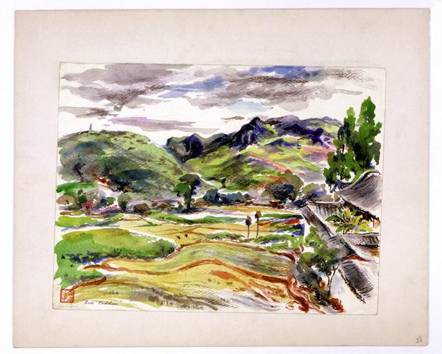 "Artwork: ""Rice Paddies,"" China, 1945- Artist: John G. Hanlen"
