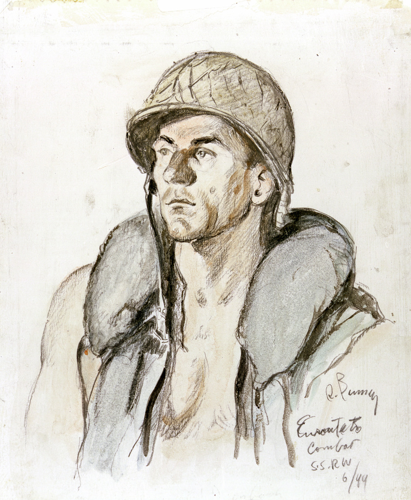 "Artwork: ""T/4 Mike Zagmeister - En route to Combat,"" July 1944- Artist: Robert Benney"